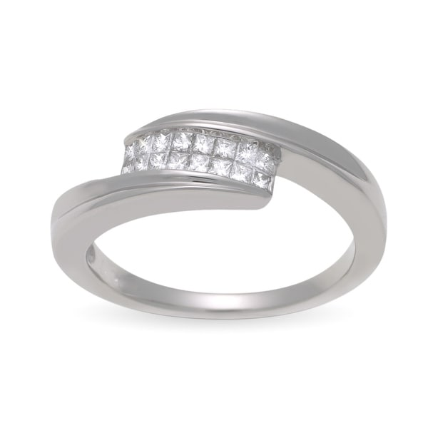 1/4 ct Diamond Bypass Ring in 14K White Gold - Size 7