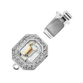 Elegant Elements, 1-Strand Hexagon Box Clasp with Swarovski Crystals 22x12mm, 1 Set, Rhodium Plated