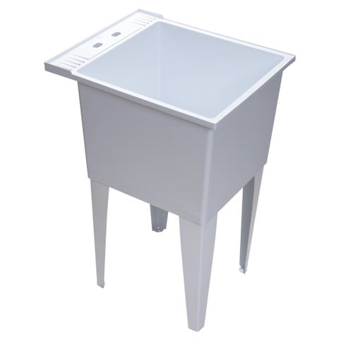 """Proflo PFLT2024 20"""" Single Compartment Floor Mounted Laundry Sink - White - N/A"""