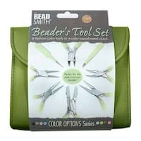 Beadsmith 8 Piece Plier & Tweezer Set Olive Green Jeweler's Tool Kit With Travel Case