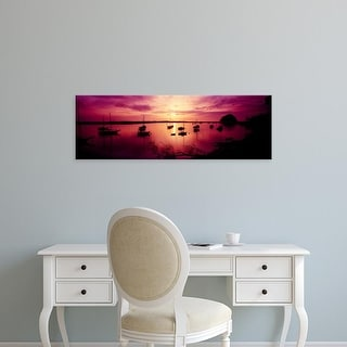 Easy Art Prints Panoramic Images's 'Boats in the sea, Morro Bay, San Luis Obispo County, California, USA' Canvas Art