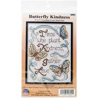 """Butterfly Kindness Mini Counted Cross Stitch Kit-5""""X7"""" 14 Count"""