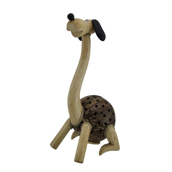 Long Neck Puppy Dog Wood and Coconut Shell Coin Bank - 14 X 6 X 6 inches