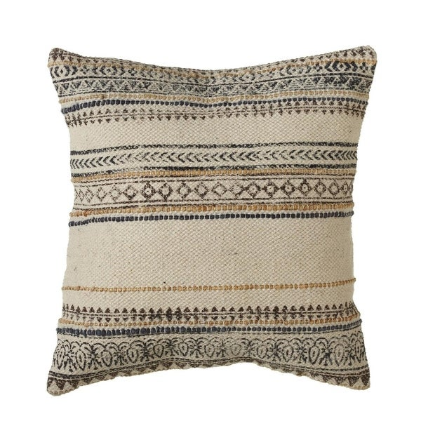 "20"" Block Print and Thread Stripe Pattern Decorative Square Throw Pillow"
