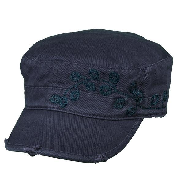 Dorfman Pacific Women's Cotton Vine Embroidery Military Cadet Hat
