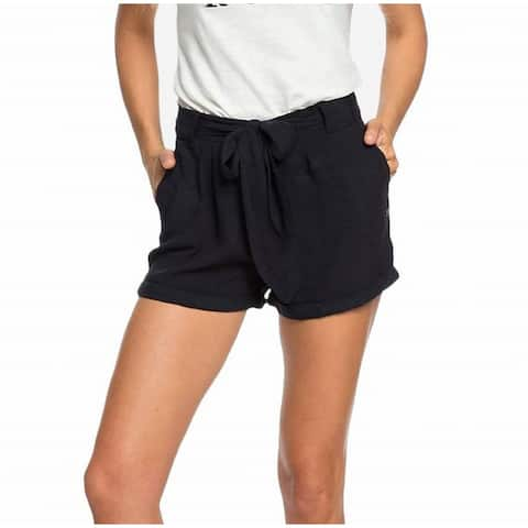 """Roxy Women's Black Size 12 Tie Front Oversize """"Life In Love"""" Bow Shorts"""
