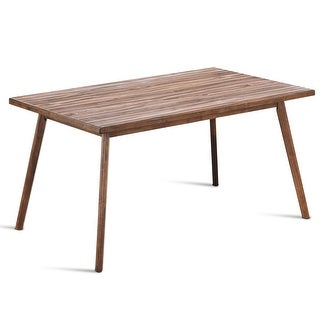 Costway Mid Century Dining Table Rectangular Top Wood Legs Kitchen Dining Room Furniture - as pic