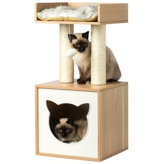 Cat Tree House Condo Cube Cave, Platform, Scratcher Post and Ball Toy - Natural