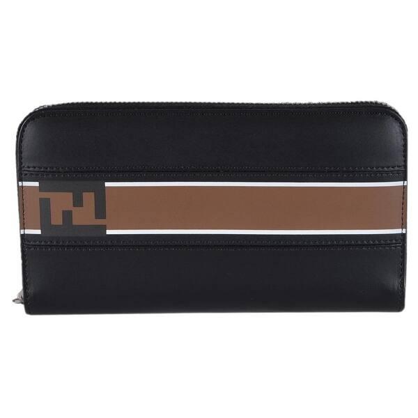 59d634887e8 Fendi Men s Black Leather FOREVER Zip Around FF Continental Wallet Clutch -  8