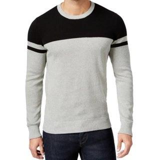 Kenneth Cole NEW Gray Black Mens Size Large L Crewneck Stripe Sweater