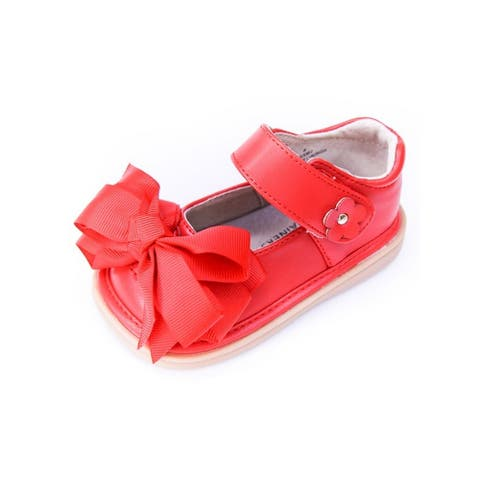 Mooshu Trainers Little Girls Red Squeaky Cute Bow Mary Jane Shoes