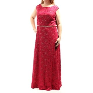 ALEX EVENINGS $229 Womens 1514 Red Cap Sleeve Sheath Formal Dress Plus 16W B+B