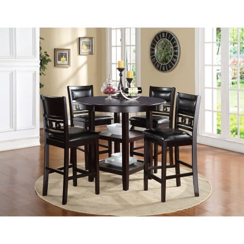 Gia 5-pc Counter Dining Set w/ 42-inch Table & 4 Chairs, Ebony