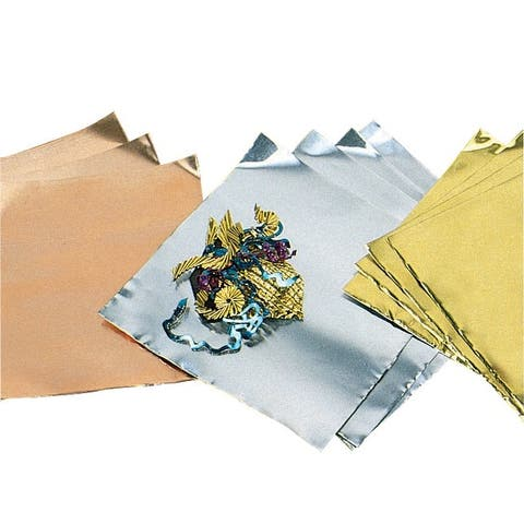 St Louis Crafts Pre-Cut Aluminum Decorator Foil, 5 X 5 in, 38 ga, Gold, Pack of 12