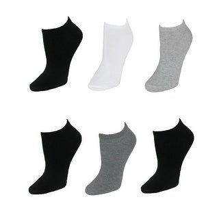 K. Bell Women's Solid Color No Show Ankle Sock (Pack of 6)