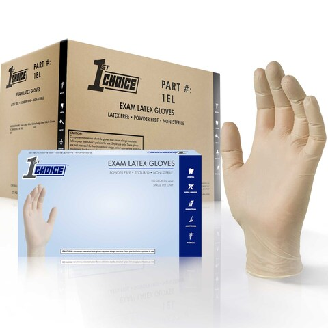 1st Choice Ivory Latex Exam Powder Free Disposable Gloves (Case of 1000)