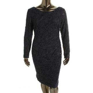 Lauren Ralph Lauren Womens Plus Lace Sequined Cocktail Dress - 22W