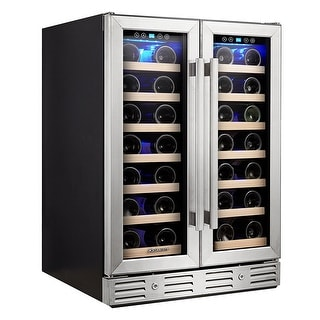 Kalamera 24'' Wine refrigerator 40 Bottle Built-in or Freestanding with Stainless Steel and Glass French-Door Style
