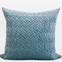 """G Home Collection Luxury Sky Blue Braid Textured Quilting Pillow 24""""X24"""""""