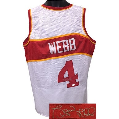 97a71082700c Spud Webb signed White TB Custom Stitched Pro Basketball Jersey XL JSA  Hologram