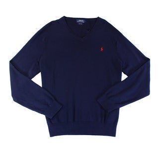 Polo Ralph Lauren NEW Blue Hunter Navy Mens Size Small S V-Neck Sweater