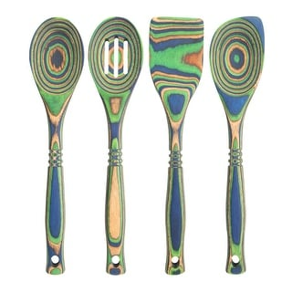 "Link to Island Bamboo 12"" Peacock Pakkawood Spoon & Spatula 4pc Utensil Set Similar Items in Cooking Essentials"