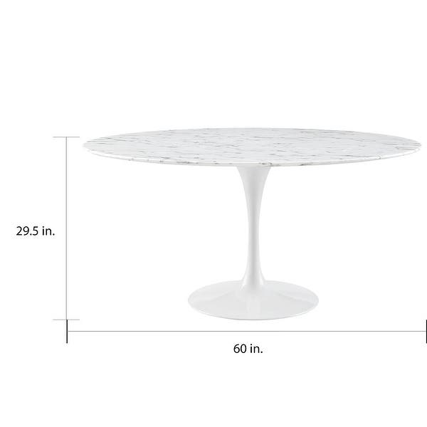 Lippa 60 Inch Round White Artificial Marble Dining Table Overstock 9632755
