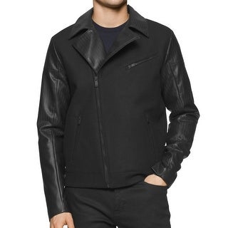 Calvin Klein NEW Black Mens Small S Faux Leather Motorcycle Wool Coat