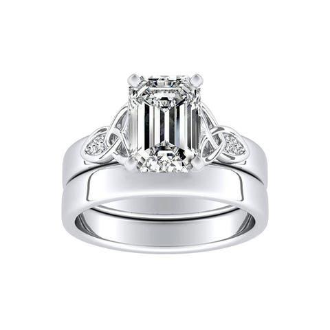 Ethical Sparkle 1ctw Ermerald-cut Lab Grown Diamond Wedding Ring Set 14k Gold