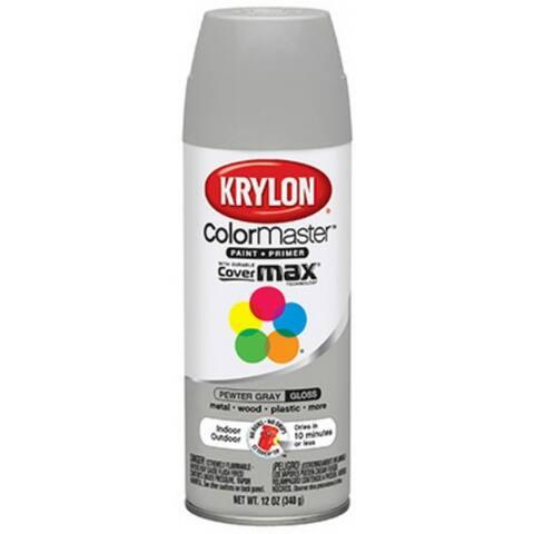 Krylon K05160602 Colormaster Spray Enamel Paint & Primer, 12 Oz, Pewter Gray