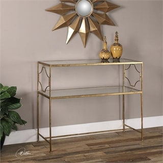 """42"""" Geometrical Inspired Antiqued Gold Leafed Iron 2-Tier Decorative Console Table"""