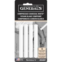 General's Extra Smooth Compressed Charcoal Stick, White, Pack of 4