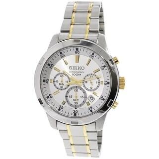 Seiko Men's Silver Sterling Japanese Chronograph Fashion Watch