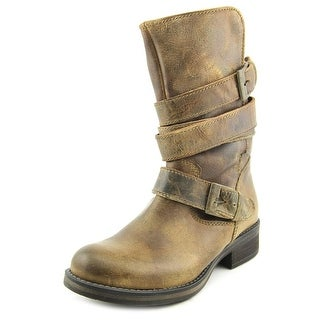 Steve Madden Kindell Women Round Toe Leather Brown Mid Calf Boot