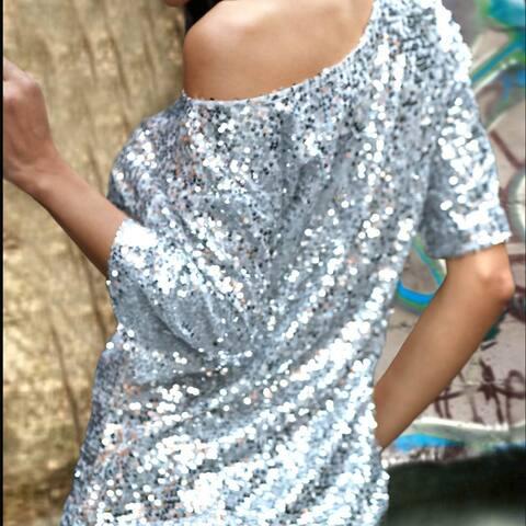 Women Sleeve T-Shirt Female Loose Sequins Oblique-Sleeved Shirt