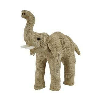 Jute Burlap Wrapped Trunk Up Paper Mache Elephant Sculpture 8 Inch - 7.5 X 6.5 X 2.75 inches