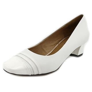 Auditions Classy Women  Square Toe Leather White Heels
