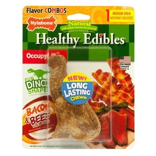Nylabone Healthy Edibles Dinosaur TRex Bacon And Beef Medium