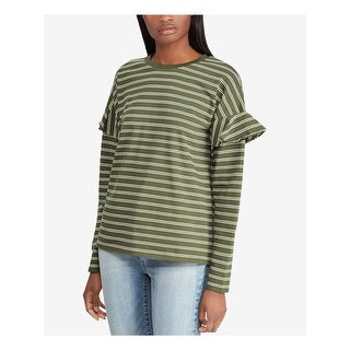 Link to RALPH LAUREN Womens Green Striped Long Sleeve Crew Neck Top  Size M Similar Items in Women's Sweaters