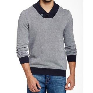 14TH & UNION NEW Blue Mens Size 2XL Birdseye Shawl Collar Sweater