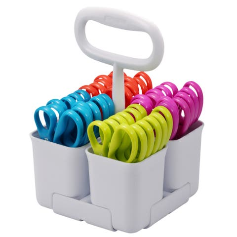 Stanley Removable 4 Cup Scissor Caddy and Guppy Kids Scissors, 24 Pack