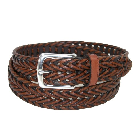 Dockers Men's Leather Fully Adjustable V-Weave Braided Belt