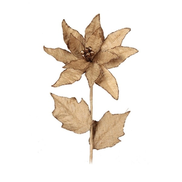Pack of 6 Burlap Glitter Tipped Poinsettia Stems 26""