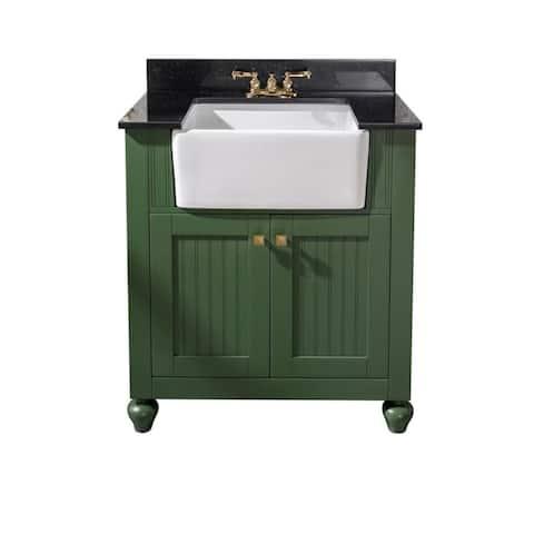 Legion Furniture 30-inch bathroom vanity in Vogue Green with black granite top WLF6022-VG