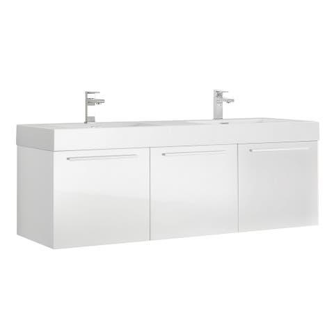 "Fresca Vista 60"" White Wall Hung Double Sink Modern Bathroom Cabinet"