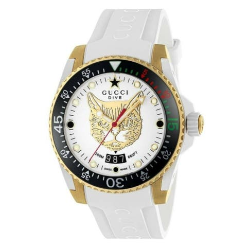 Gucci Men's YA136322 'Dive' White Rubber Watch
