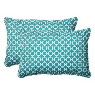 "Set of 2 Moroccan Mosaic Blue Outdoor Furniture Rectangular Throw Pillows 24.5"""