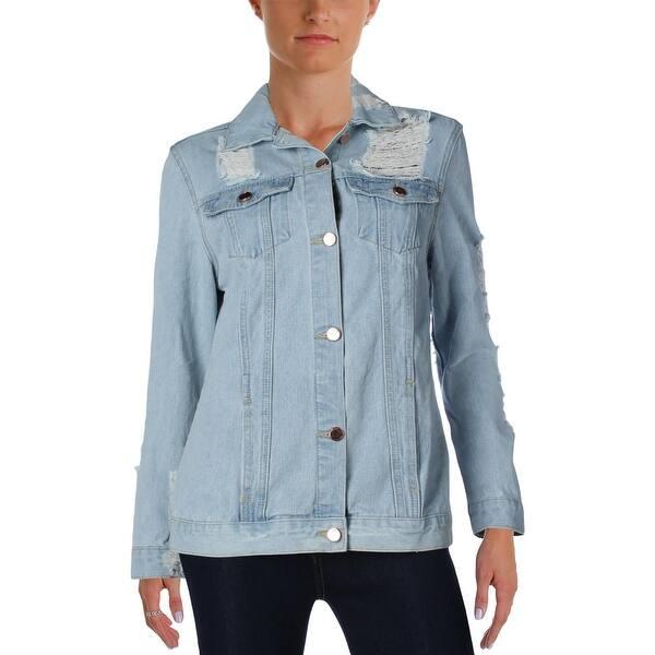 Aqua Womens Jean Jacket Denim Distressed
