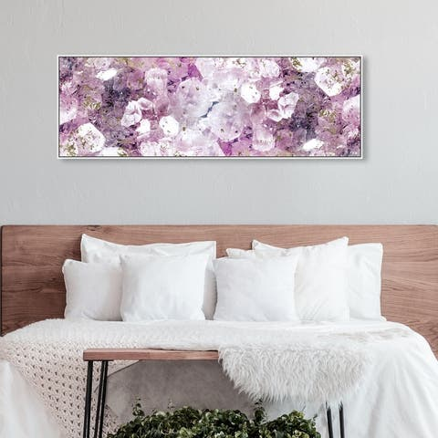 Oliver Gal 'Crystal Romance' Abstract Wall Art Framed Canvas Print Crystals - Purple, Gold