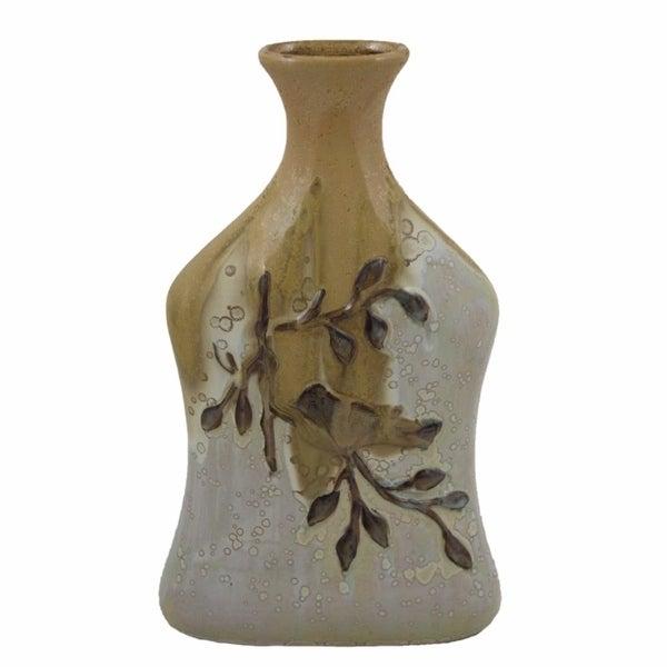 Ceramic Vase, White And Brown